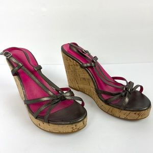 Boden Wedge Sandals Ankle Strap Brown Leather Cork
